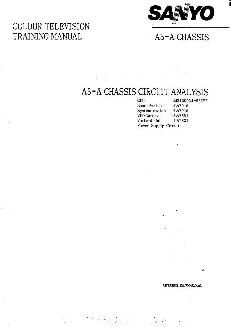SANYO CHASSIS A3-A TRAINING MANUAL service manual (1st page)