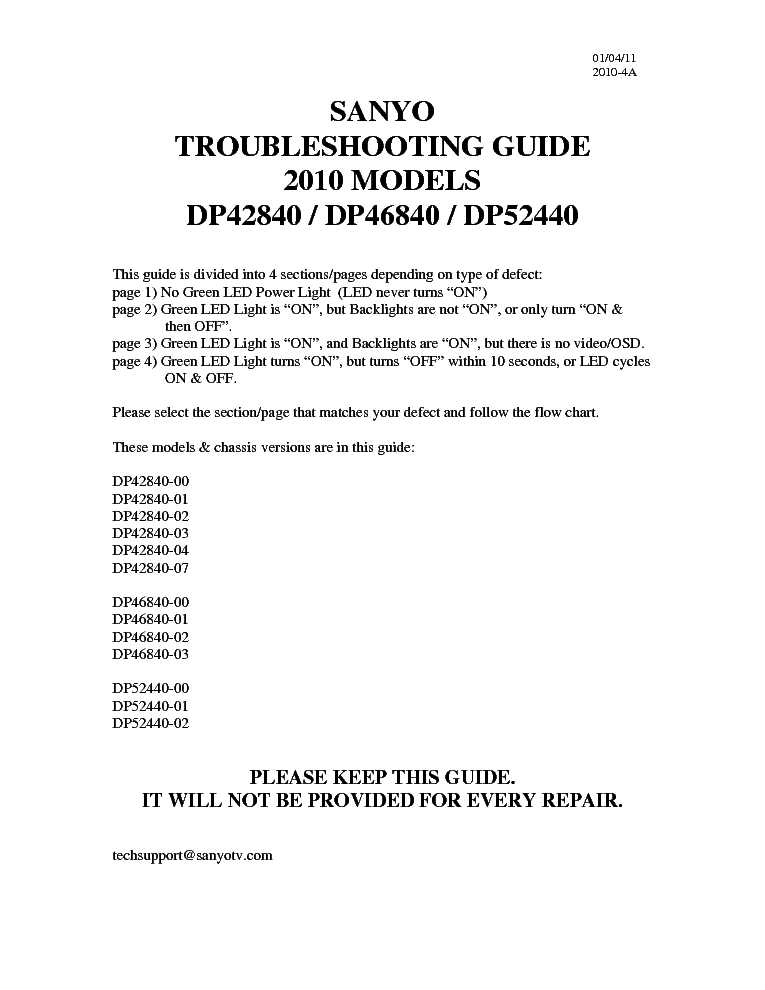 sanyo dp42840 dp46840 dp52440 troubleshooting guide service manual rh elektrotanya com sanyo dp42840 owners manual Remote Sanyo DP42840
