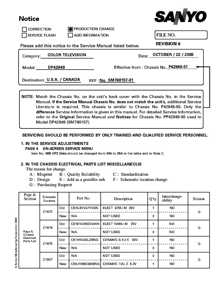 SANYO DP42849 CHASSIS P42849-01 PRODUCTION CHANGE SERVICE INFO service manual (1st page)