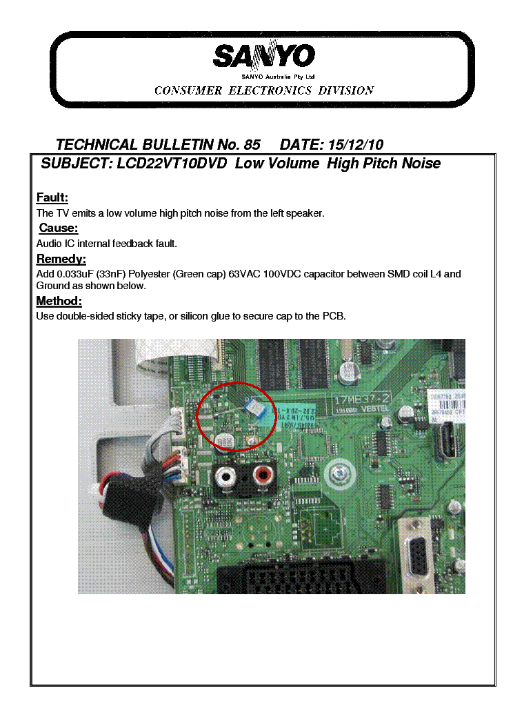 SANYO DP42840 DP46840 DP52440 TROUBLESHOOTING GUIDE Service Manual