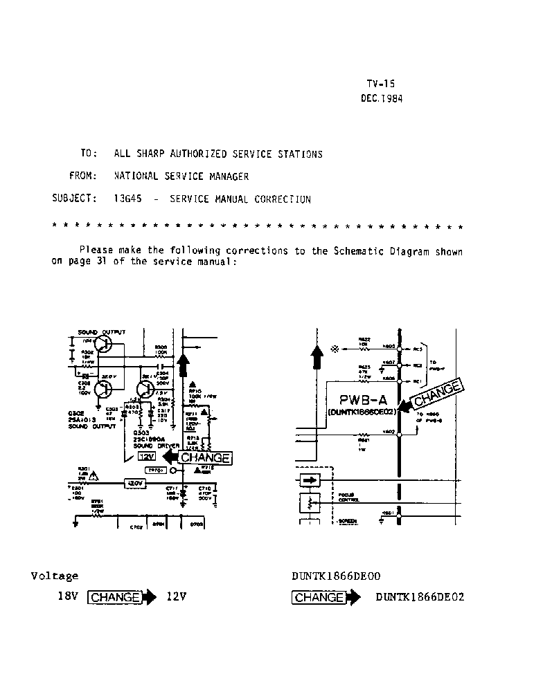 SHARP 13G45 TV-015 TECH BULLETIN service manual (1st page)