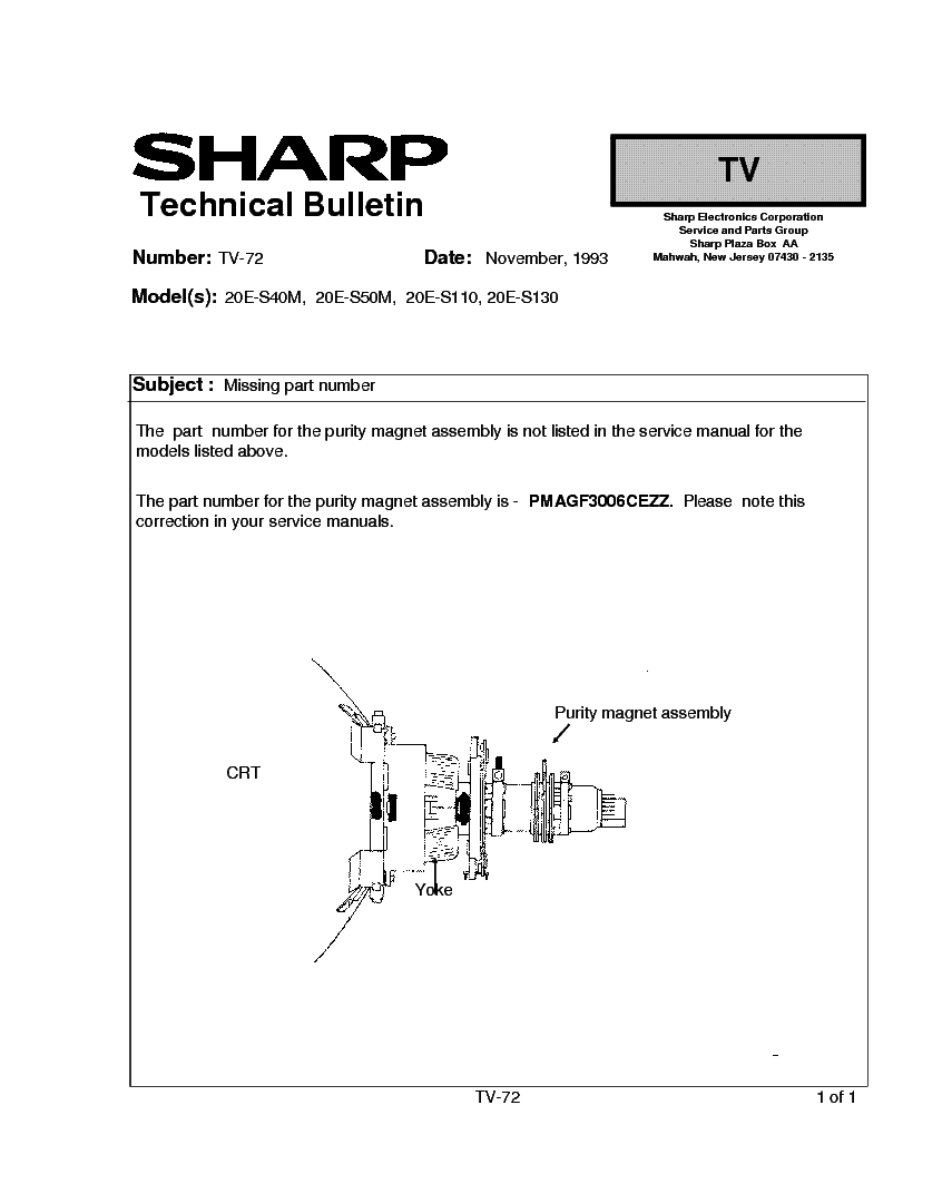 SHARP 20E-S40M-S50M-S110-S130 TV-072 TECH BULLETIN service manual (1st page)