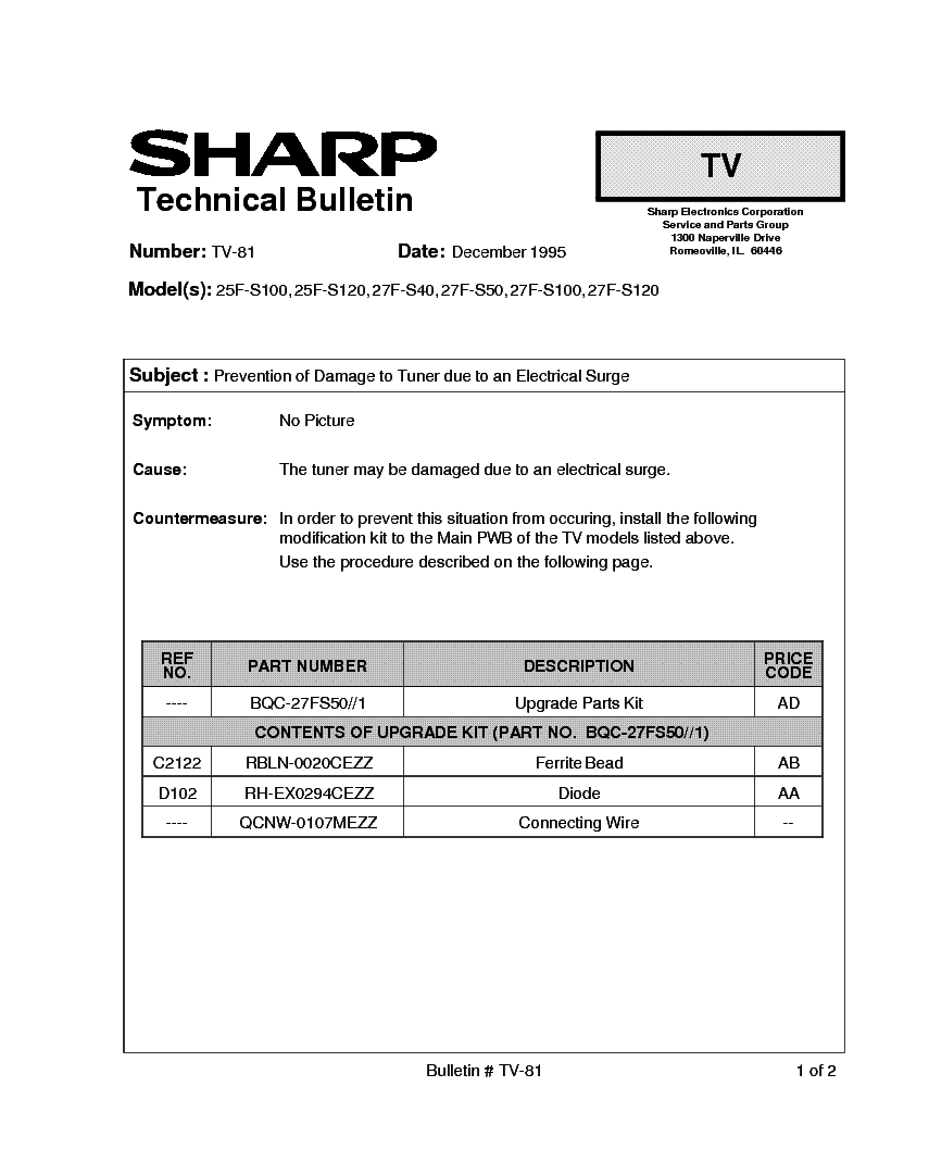 SHARP 25F-S100-S120 27F-S40-S50-S100-S120 TV-081 TECH BULLETIN service manual (1st page)
