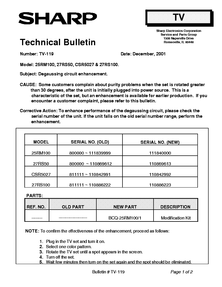 SHARP 25RM100 27RS50 CSR5027 27RS100 TV-119 TECH BULLETIN service manual (1st page)