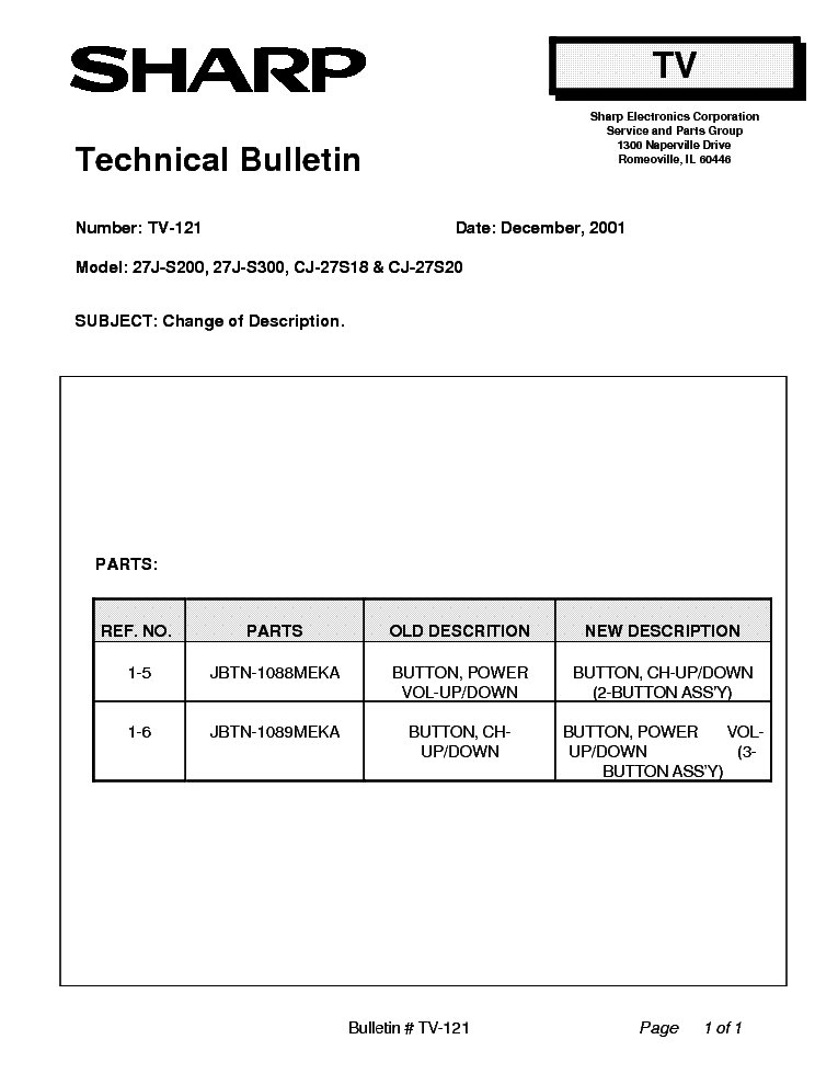 SHARP 27J-S200-S300 CJ-27S18 CJ-27S20 TV-121 TECH BULLETIN service manual (1st page)