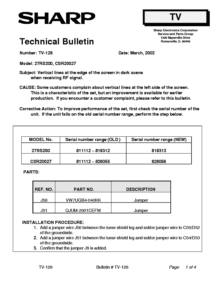 SHARP 27RS200 CSR20027 TV-126 TECH BULLETIN service manual (1st page)