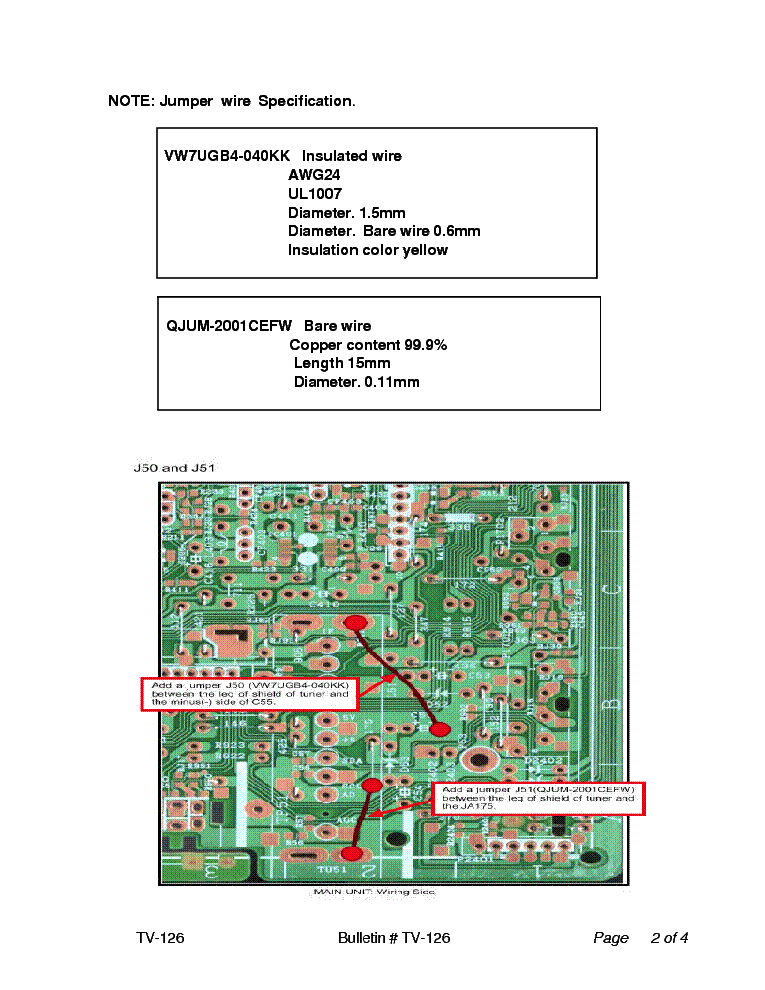 SHARP 27RS200 CSR20027 TV-126 TECH BULLETIN service manual (2nd page)