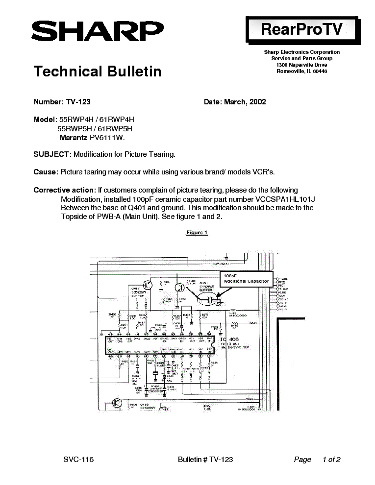 SHARP 55RWP4H 55RWP5H 61RWP4H 61RWP5H PV6111W TV-123 TECH BULLETIN service manual (1st page)