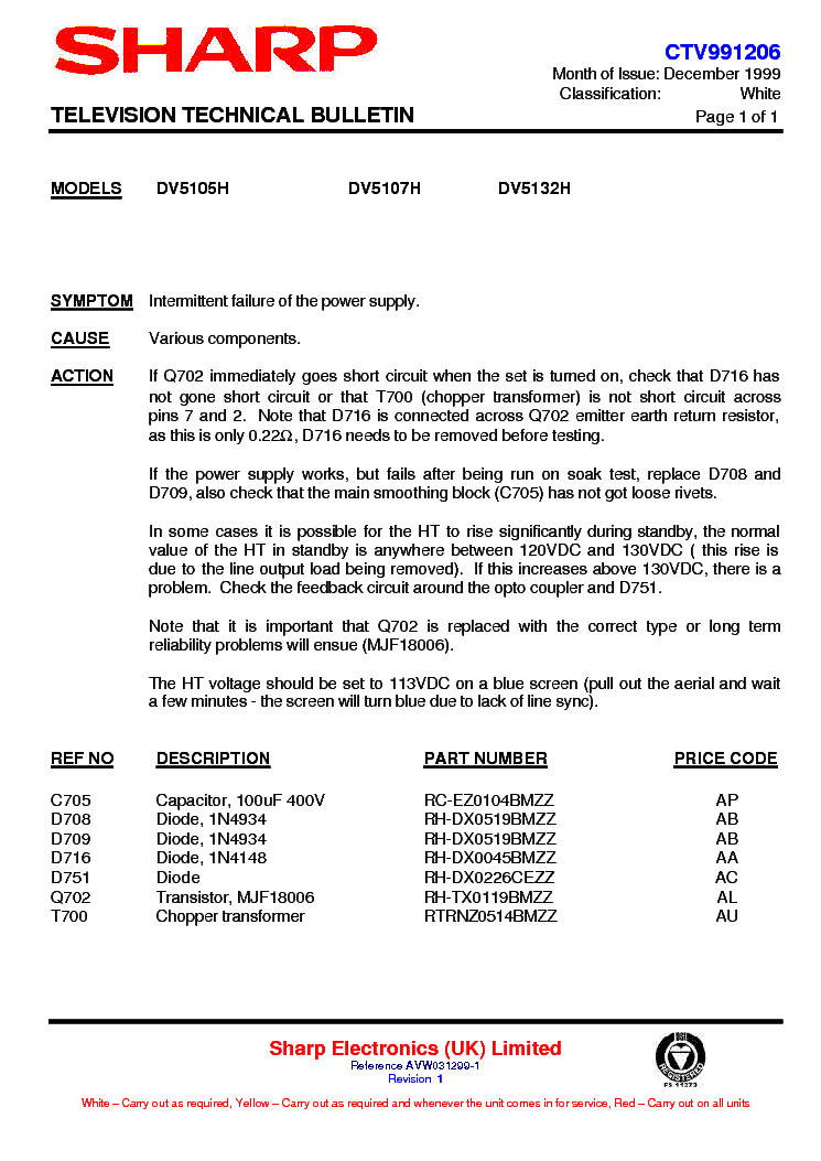 SHARP DV5107H-021 TECHNICAL-BULLETIN service manual (1st page)