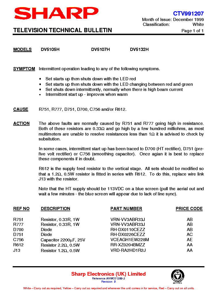 SHARP DV5132H TECHNICAL-BULLETIN service manual (1st page)