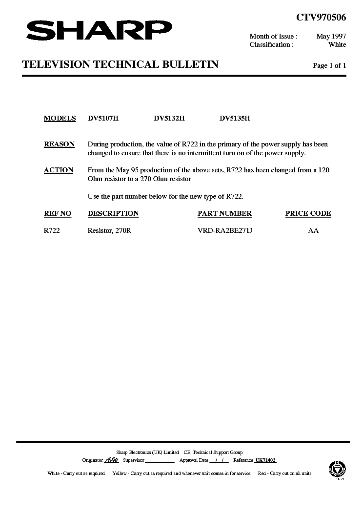 SHARP DV5135H-001 TECHNICAL-BULLETIN service manual (1st page)