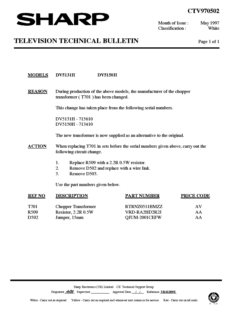 SHARP DV5150H-001 TECHNICAL-BULLETIN service manual (1st page)