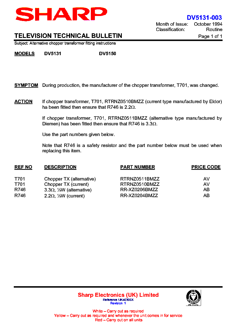 SHARP DV5150H-004 TECHNICAL-BULLETIN service manual (1st page)