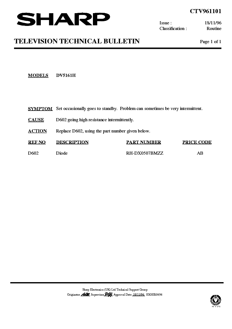 SHARP DV5161H-002 TECHNICAL-BULLETIN service manual (1st page)
