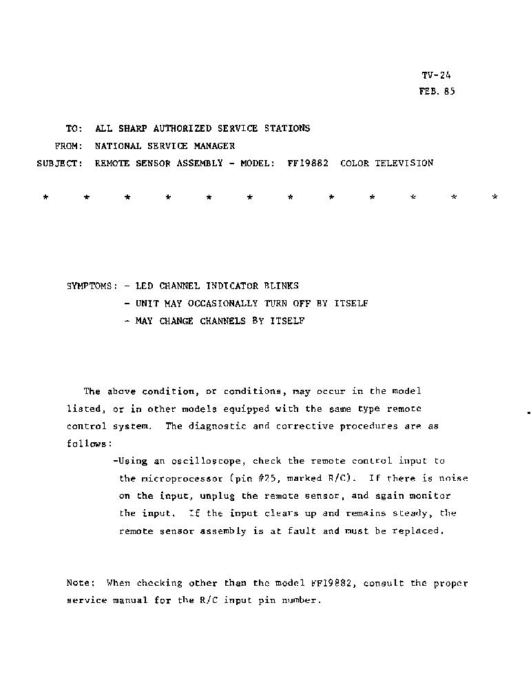 SHARP FF19882 TV-024 TECH BULLETIN Service Manual download