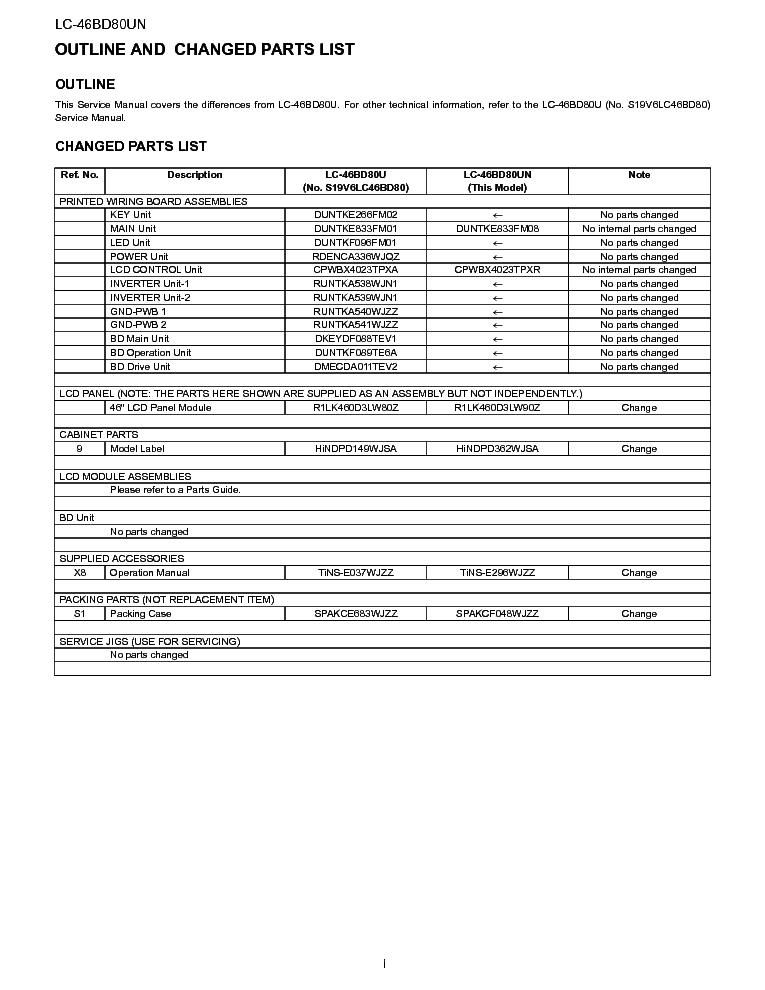 SHARP LC-46BD80UN SERVICE-INFO service manual (2nd page)