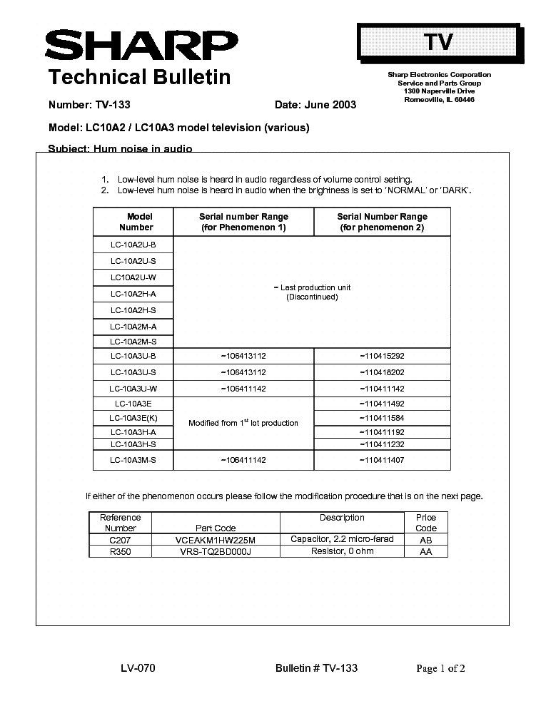 SHARP LC10A2 LC10A3 TV-133 TECH BULLETIN service manual (1st page)
