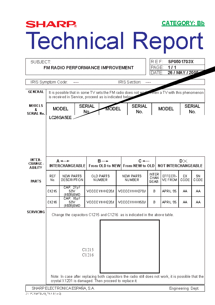 SHARP LC26-32-37GAXX TECH REPORT SP0501703X service manual (1st page)