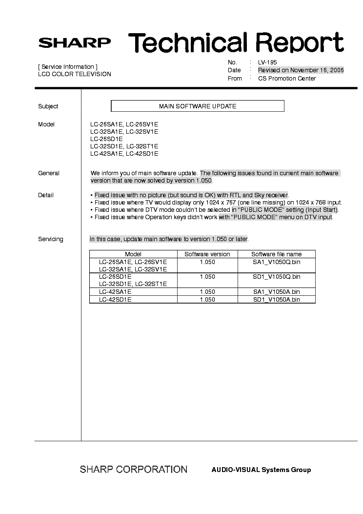 SHARP LC26-32-42SXX TECH REPORT LV-195 service manual (1st page)