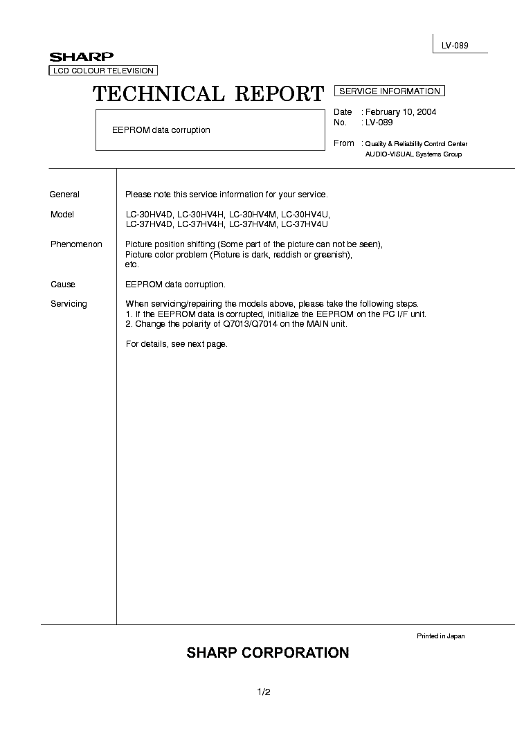SHARP LC30-37HV4X TECH REPORT LV-089 service manual (1st page)