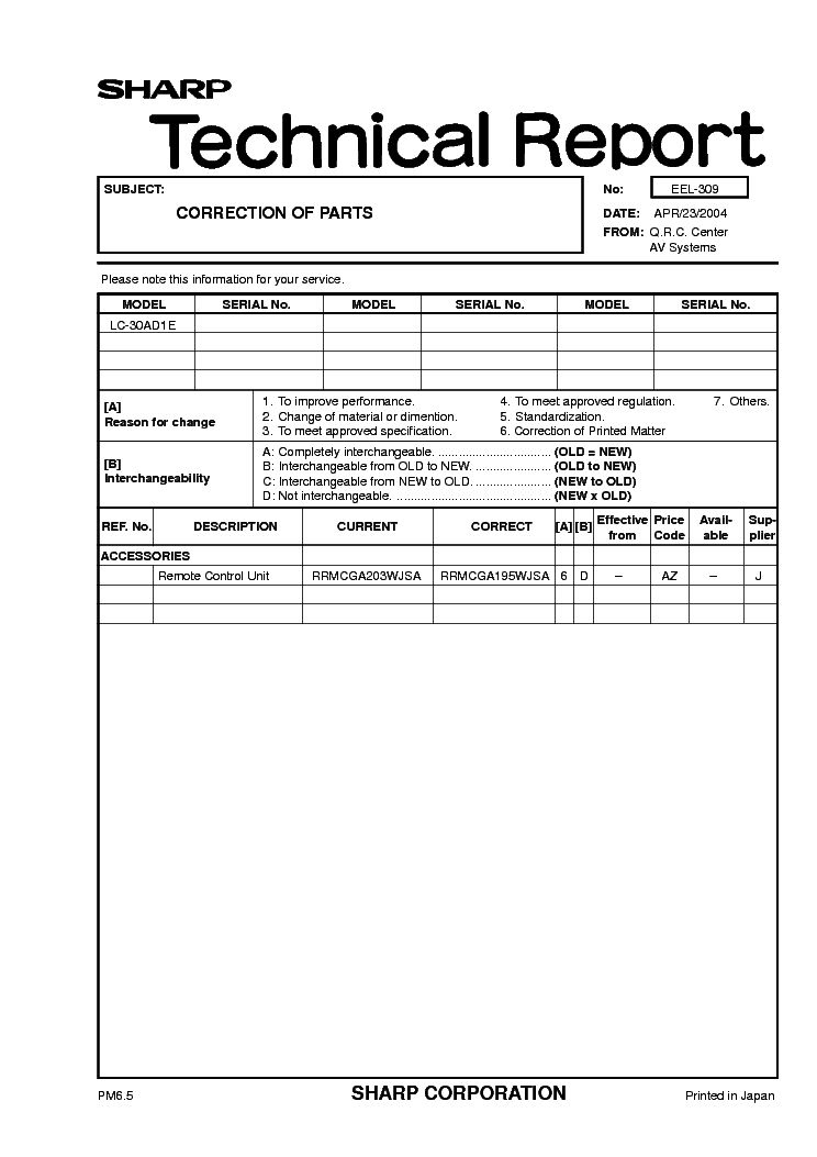 SHARP LC30AD1E TECH REPORT EEL-309 service manual (1st page)