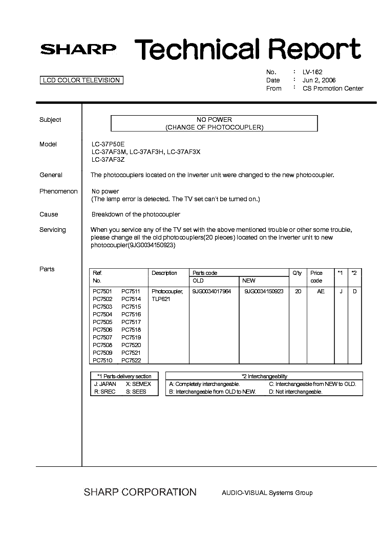 SHARP LC37P50E-AF3M-H-X-AF3Z TECH REPORT LV-162 service manual (1st page)