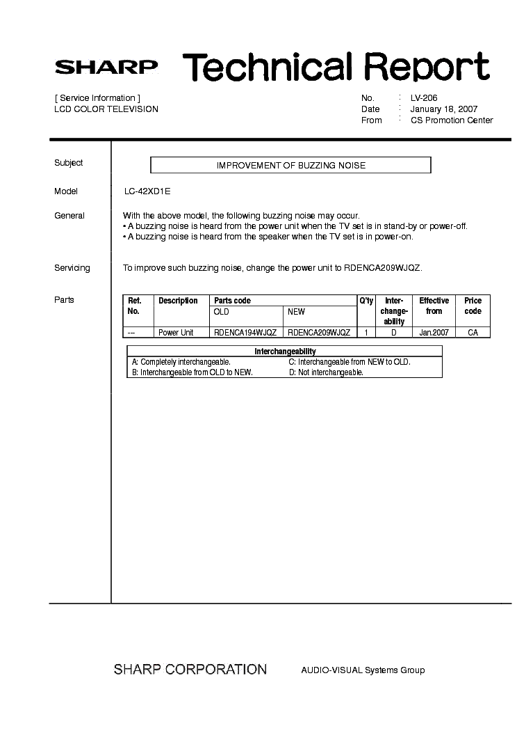 SHARP LC42XD1E TECH REPORT LV-206 service manual (1st page)