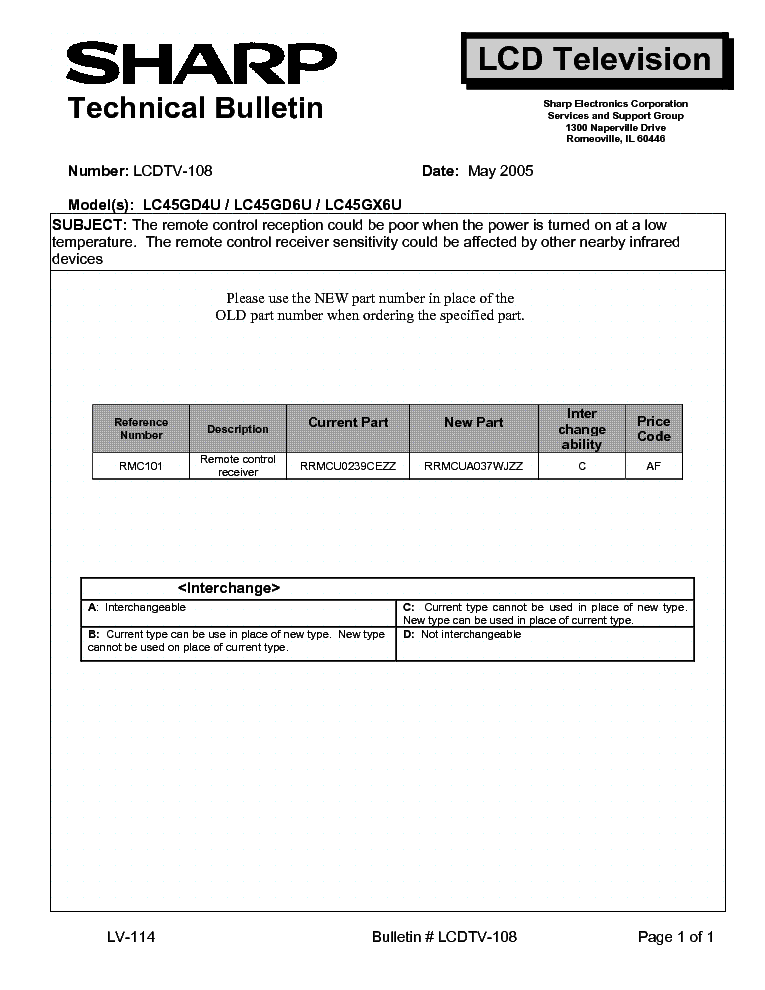 SHARP LCDTV-108 LC45GD4U LC45GD6U LC45GX6U TECH BULLETIN service manual (1st page)