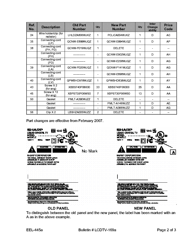 SHARP LCDTV-169A LC42D62U TECH BULLETIN service manual (2nd page)