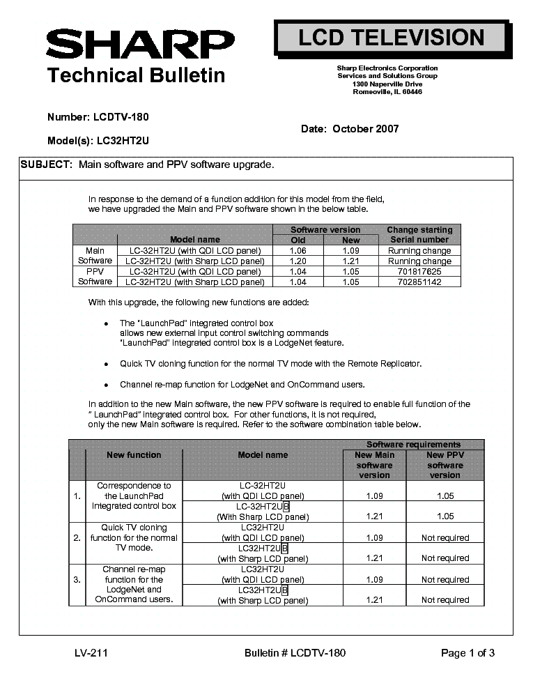 SHARP LCDTV-180 LC32HT2U TECH BULLETIN service manual (1st page)