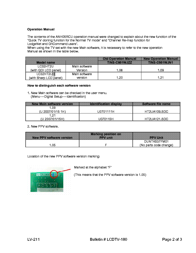 SHARP LCDTV-180 LC32HT2U TECH BULLETIN service manual (2nd page)
