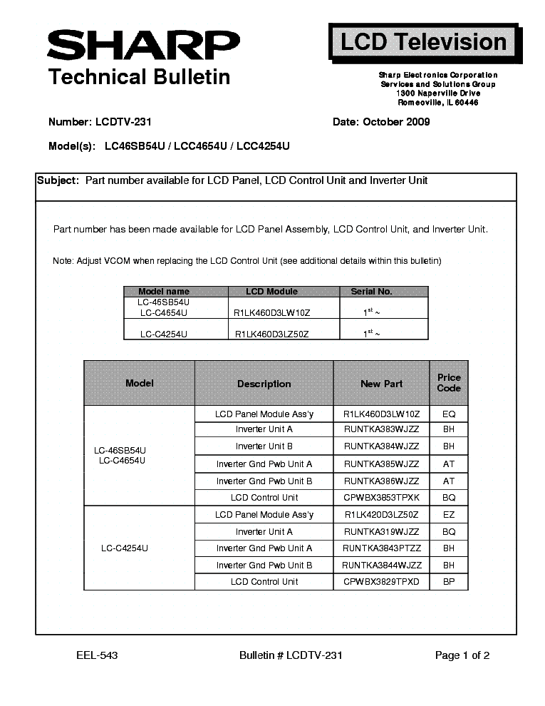 sharp lcdtv 231 lc46sb54u lcc4654u lcc4254u tech bulletin service rh elektrotanya com Sharp ManualsOnline User Manual Sharp Fax Machines