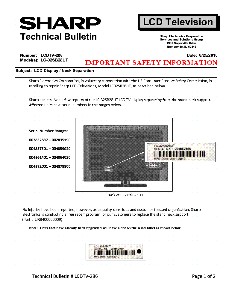 SHARP LCDTV-286 LC-32SB28UT TECH BULLETIN service manual (1st page)