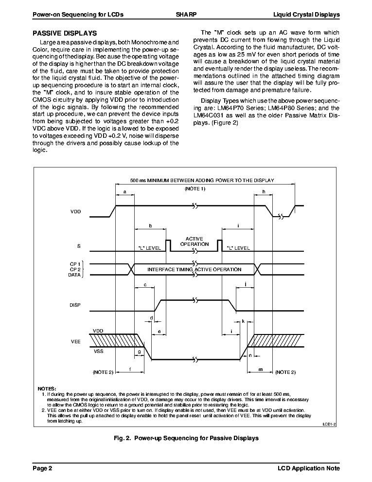 SHARP POWER-ON SEQUENCING FOR LCDS WHY WHEN HOW LCD-APPNOTE service manual (2nd page)