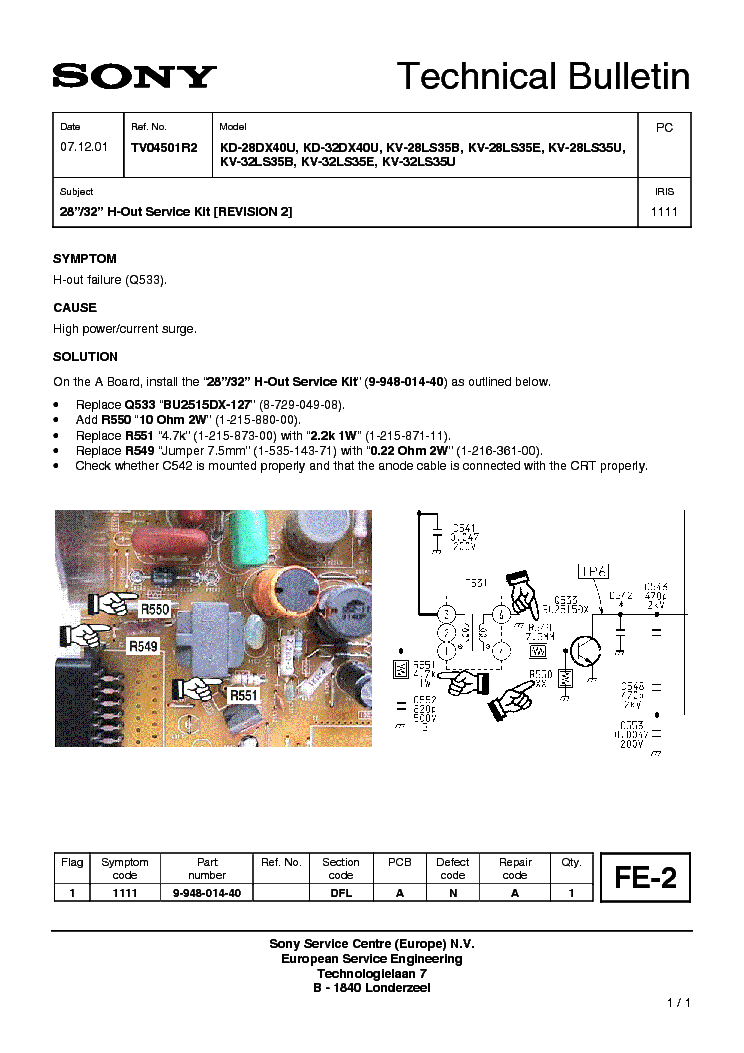 SONY CHASSIS-FE2 H-OUT SERVICE-KIT service manual (1st page)