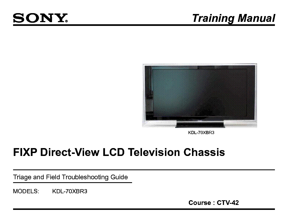 SONY CTV-42 FIX-P DIRECT LCD TRAINING MANUAL service manual (1st page)