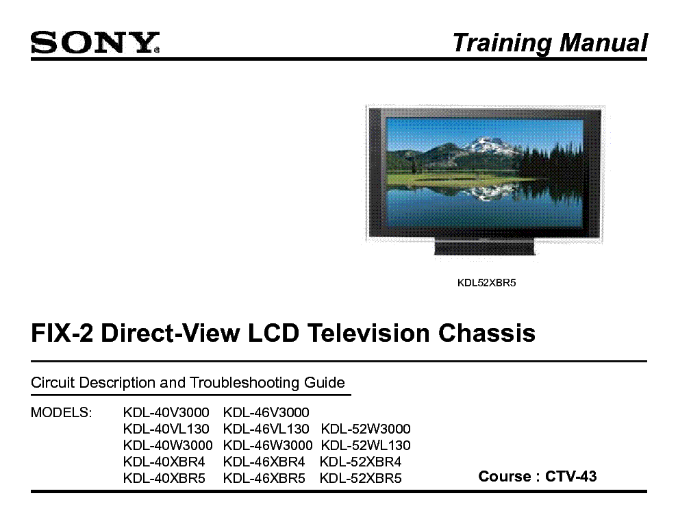 SONY CTV-43 FIX-2 DIRECT VIEW TRAINING MANUAL service manual (1st page)