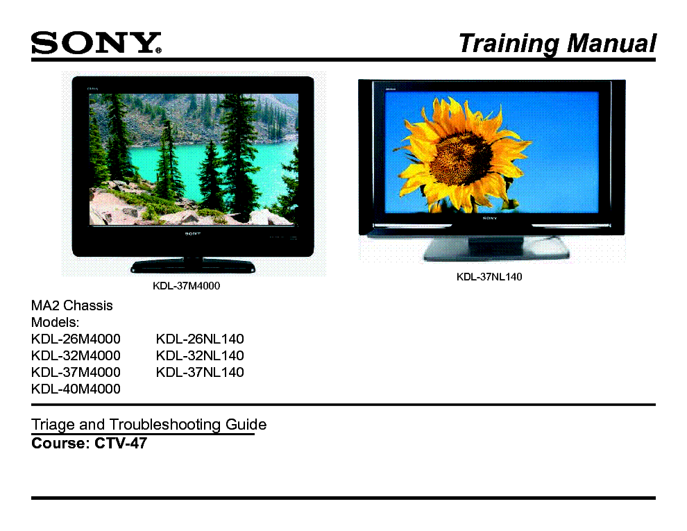 SONY CTV-47 MA2 CHASSIS M4000 TRAINING MANUAL service manual (1st page)
