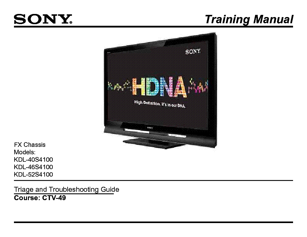 SONY CTV-49 FX CHASSIS TRAINING MANUAL service manual (1st page)