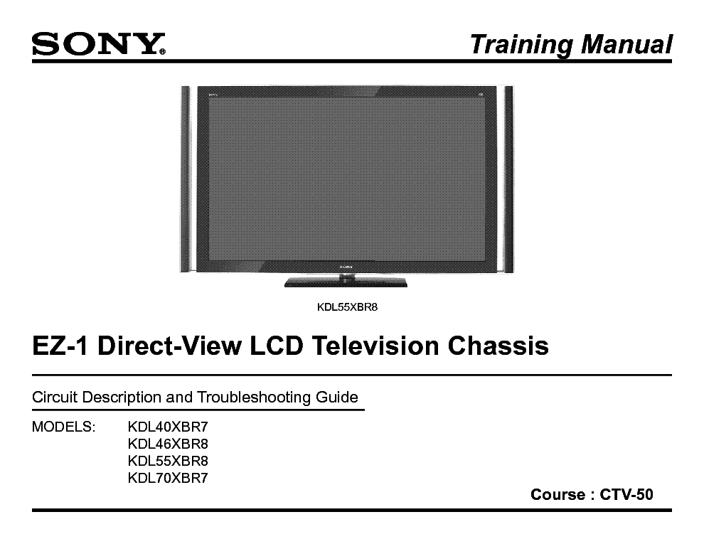 SONY CTV-50 EZ1 CHASSIS TRAINING MANUAL service manual (1st page)