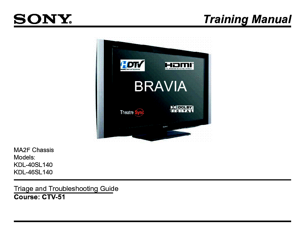 SONY CTV-51 MA2F CHASSIS TRAINING MANUAL service manual (1st page)