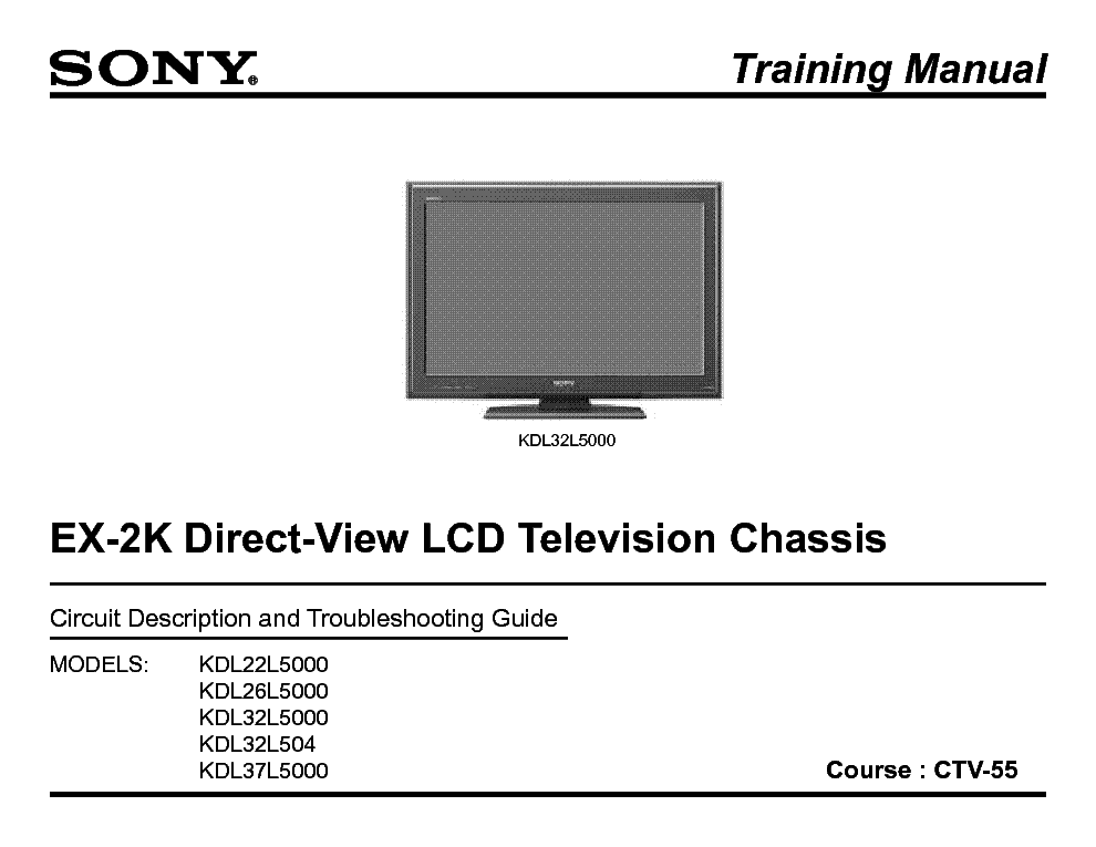 SONY CTV-55 EX2K CHASSIS TRAINING MANUAL service manual (1st page)