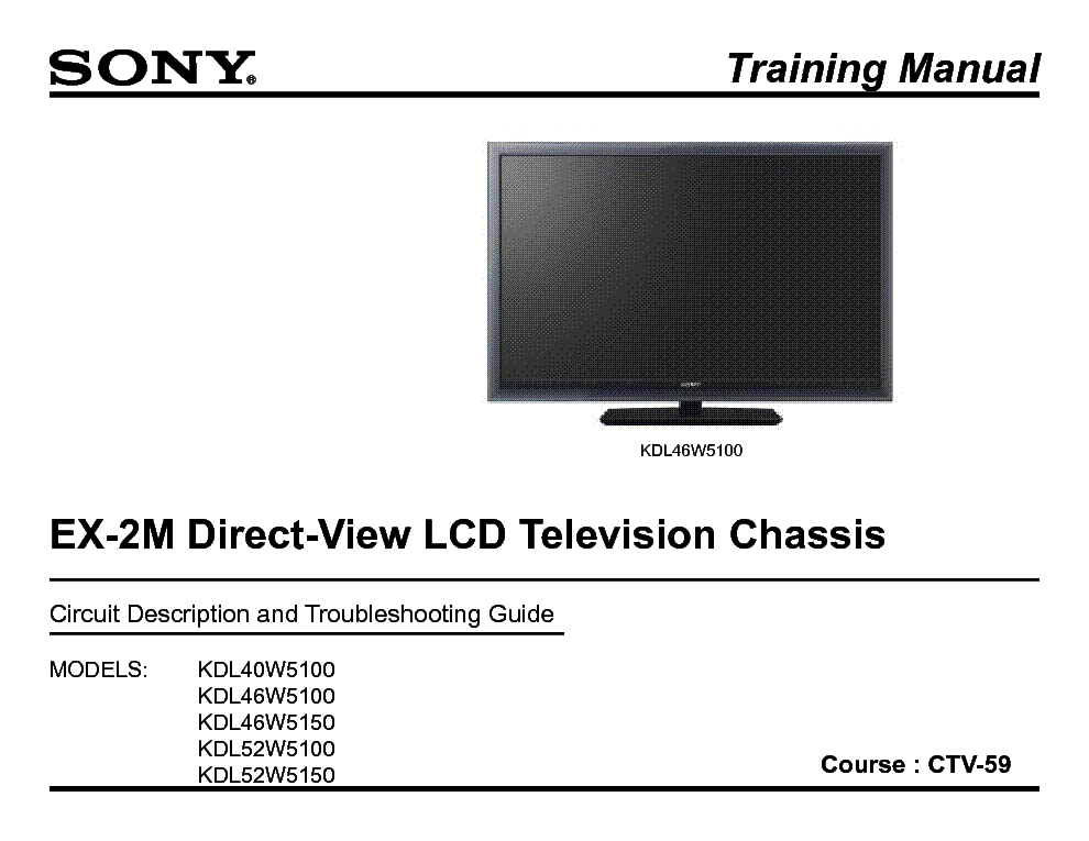 SONY CTV-59 EX-2M CHASSIS TRAINING MANUAL service manual (1st page)