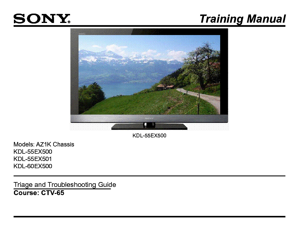SONY CTV-65 AZ1K CHASSIS TRAINING MANUAL service manual (1st page)