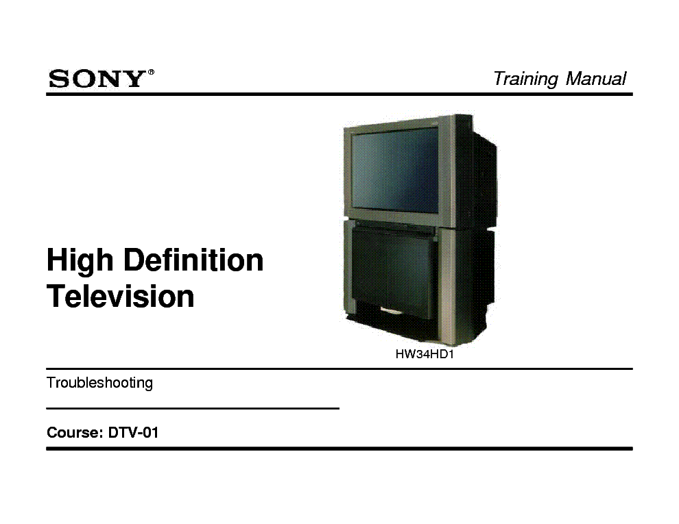 SONY DTV-01 DIGITAL TELEVISION TRAINING MANUAL service manual (1st page)