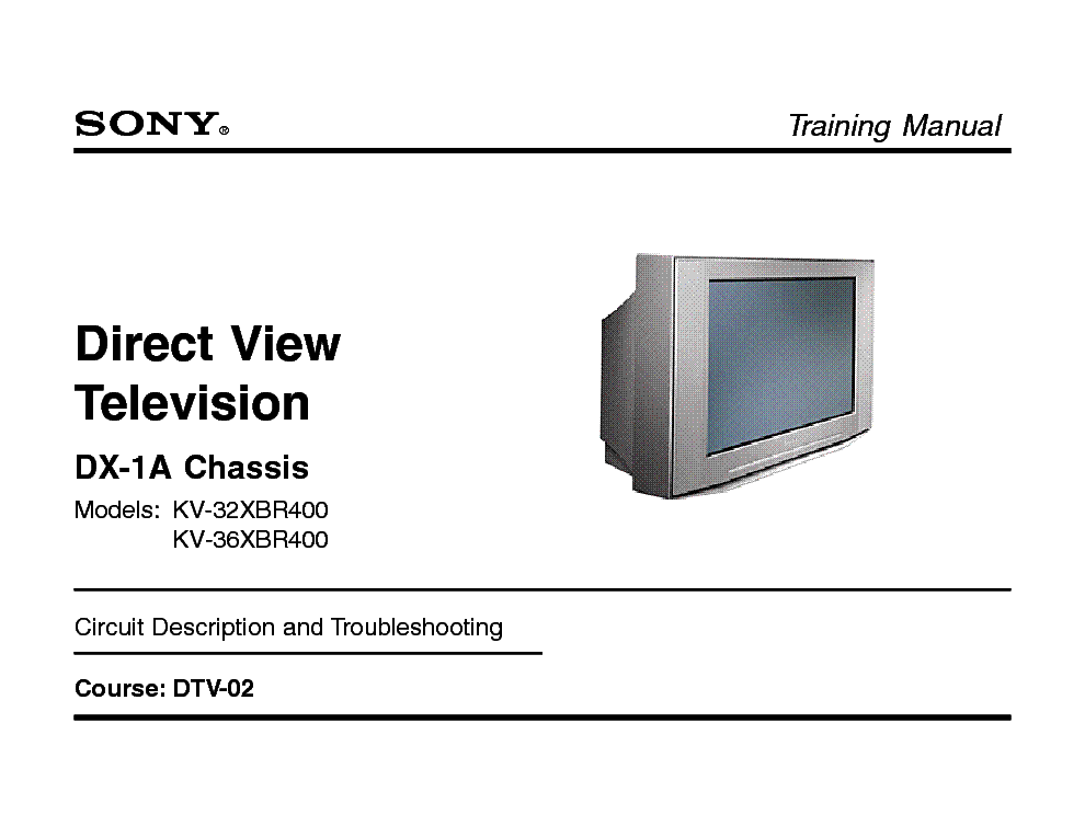 SONY DTV-02 DIGITAL TELEVISION TRAINING MANUAL service manual (1st page)