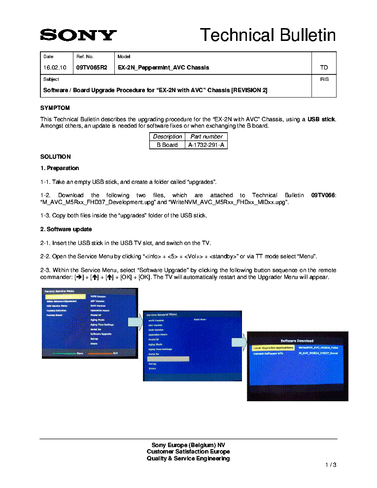 SONY EX-2N CHASSIS BULLETIN service manual (1st page)