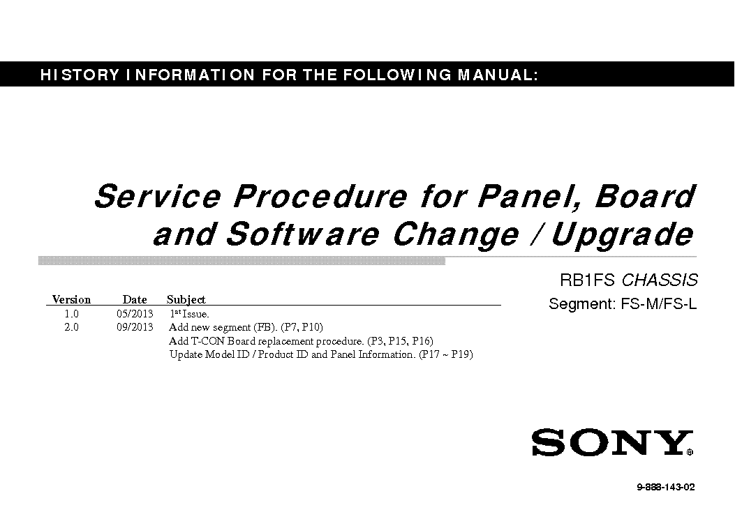 SONY KDL-55X9005 CHASSIS RB1FS SERVICE PROCEDURE AND SOFTWARE UPGRADE service manual (1st page)
