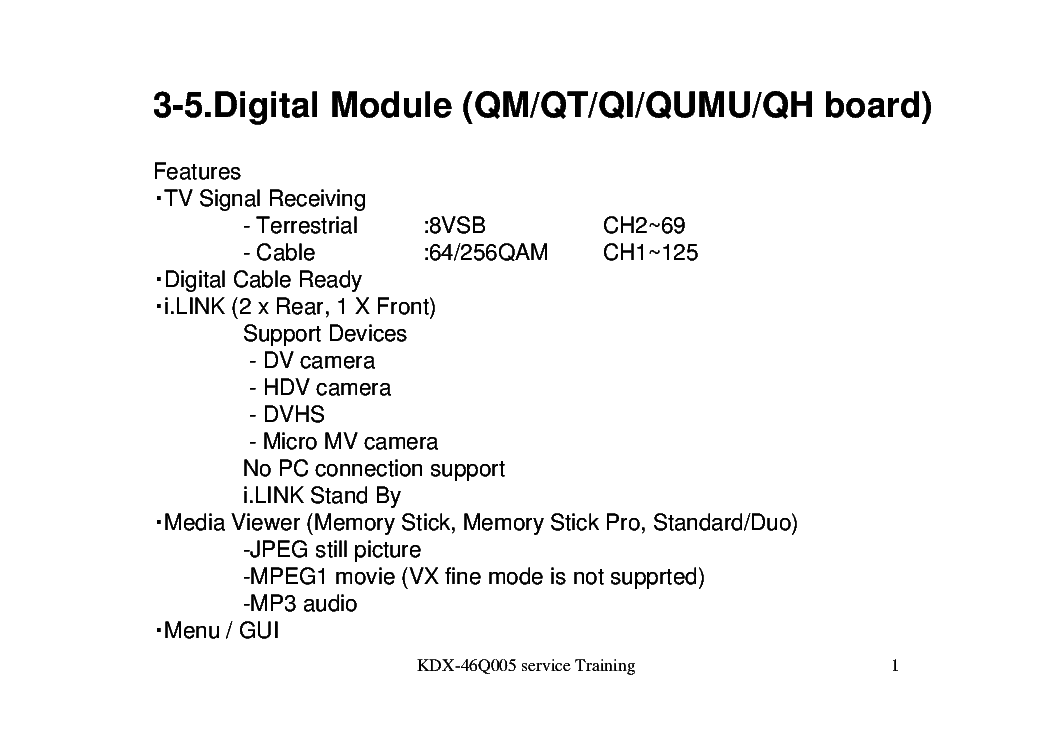SONY KDX-46Q005 DIGI MODUL TRAINING LCD service manual (1st page)