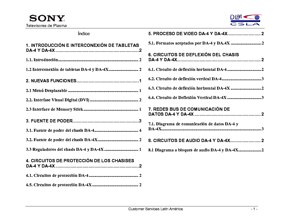 SONY TV-A1202 CHASSIS DA-4X TRAINING MANUAL service manual (2nd page)